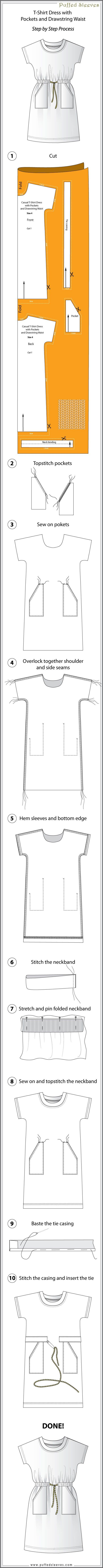 Easy to make casual dress with step-by step instructions. Printable pattern.