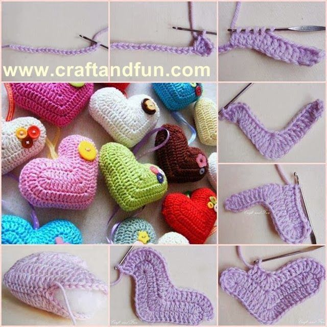 Valentine's day - hearts crochet - tutorial  step by step
