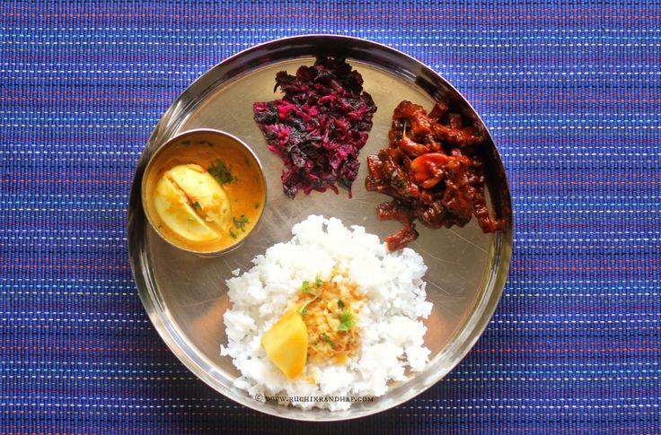 Ruchik Randhap (Delicious Cooking): Mangalorean Plated Meal Series - Boshi# 15 - Egg Roce Curry, Thambdi Baji, Karathe Sukhe & Rice