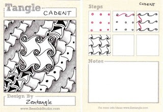 Cadent, an official Zentangle developed by Maria Thomas, Zentangle founder.  Presented by Sandy Stein Bartholomew