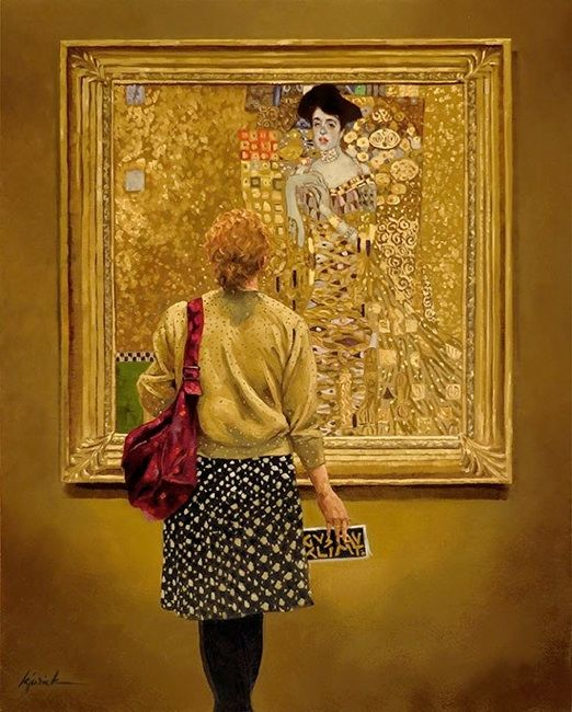 """Karin Jurick's incredible """"Woman In Gold"""", oil on panel, 16  x  20"""", A woman admiring gustav klimt's famous  gilded 'portrait of adele bloch-bauer I'."""