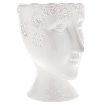 White Floral Face Vase - Large