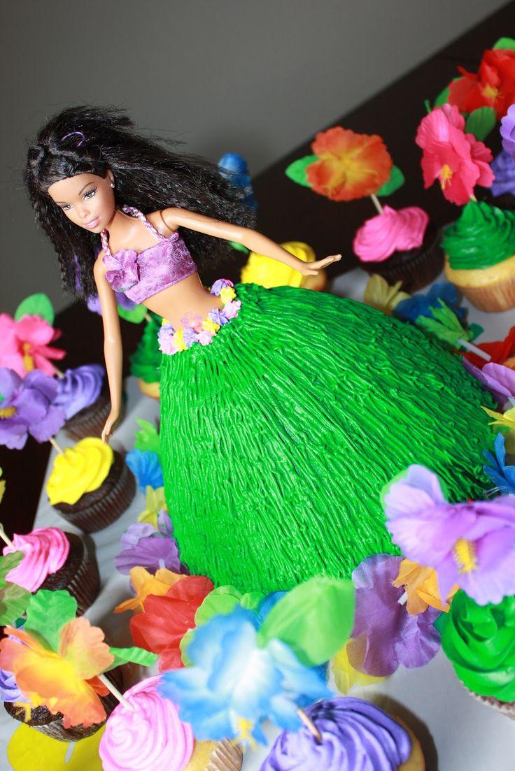 Hula Barbie Cake, luau cake, hula girl cake
