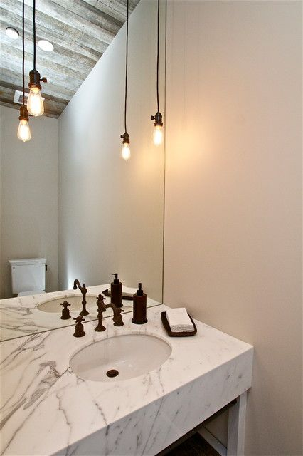 Tiny White Painted Home Powder Room Idea With Wooden Ceiling Featured With  Rustic Pendant Lighting. Bathroom ... Part 67