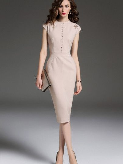 Apricot Single Breasted Cap Sleeve Women Sheath Dress