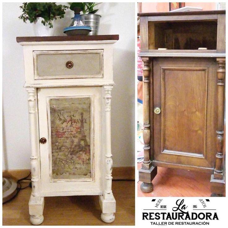 Antes y después de pintar esta mesilla con pintura de tiza y patinas de envejecido. En la puerta se…La Restauradora (@tallerlarestauradora)