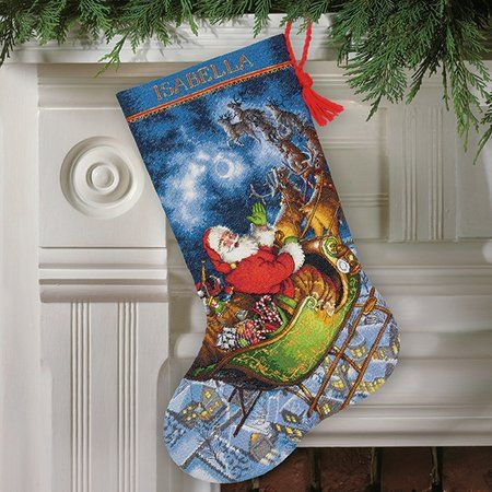 Dimensions Santa's Flight Christmas Stocking - Cross Stitch Kit. Santa's Flight Stocking portrays Santa Claus soaring high above the rooftops. You're sure to en