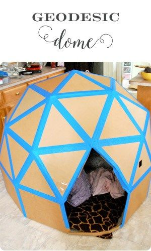 A fun geodesic dome made out of cardboard - a new spin on a cardboard castle! ♥ Little Girl's Pearls