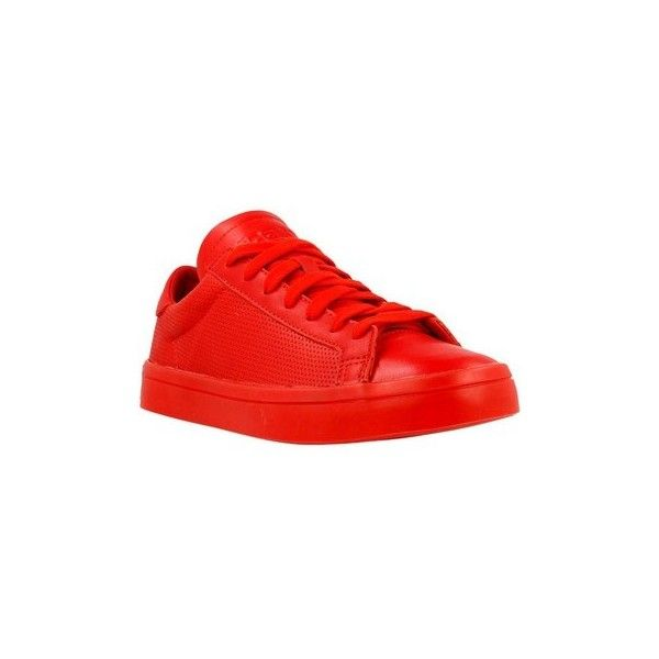 adidas Courtvantage Adicolor Shoes (Trainers) ($120) ❤ liked on Polyvore featuring shoes, sneakers, red, trainers, women, red shoes, red sneakers, adidas shoes, adidas sneakers and red trainers