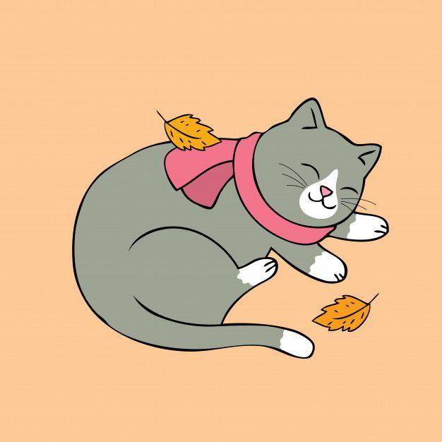 Dibujos Animados Lindo Gato Otono Dormir Vector Gatos Tiernos Dibujos Gatos Animados Tiernos Ilustraciones De Gato