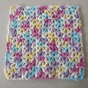 Easy V-Stich Crochet Dishcloth ༺✿ƬⱤღ  http://www.pinterest.com/teretegui/✿༻