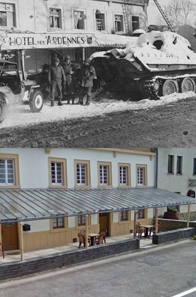 "Then and Now WWII. ""Officers of the Ninth Air Force pose with a German Panther tank of Kampfgruppe Peiper knocked out in front of the Hotel des Ardennes in Ligneuville, Belgium on December 17th, 1944. The Panther was commanded by SS Untersturmführer Arndt Fisher who was badly burned in the battle. (U.S. Air Force Photograph.)"""