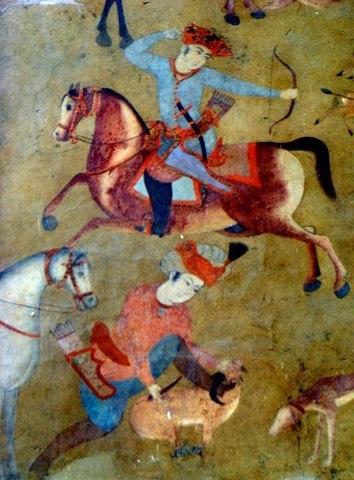 Horseback archer and Persian Salukis in a hunting ground Safavid Dynasty (15th century) Isfahan, Iran.