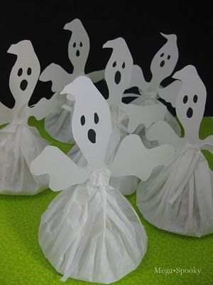 Ghost Treat Bags made with coffee filters and ghost cutouts- cute