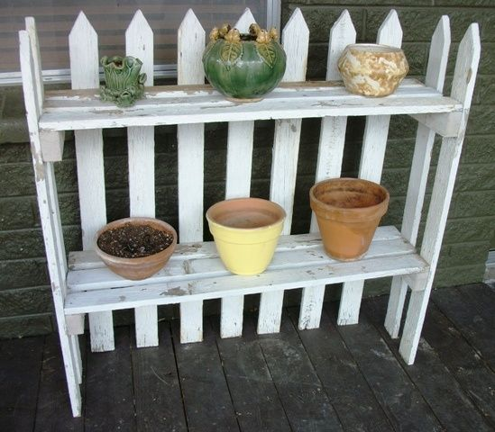 bird houses made out of old picket fences | Picket fence plant stand Finders Keepers Antiques