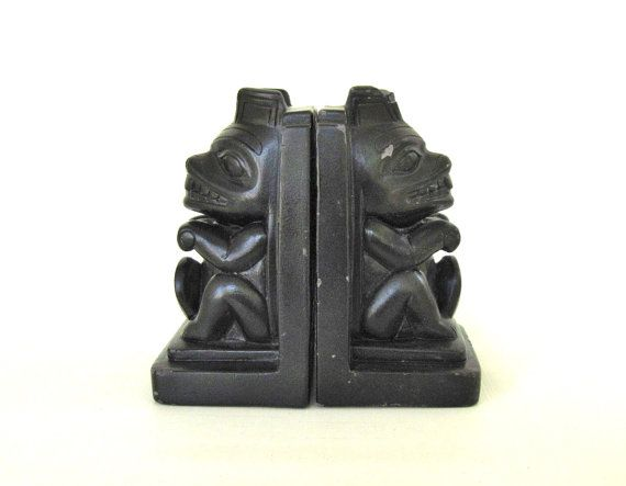 Tiki Book Ends Retro Hawaiian Bookends Black by LaurasLastDitch, $19.99