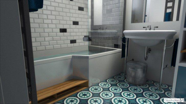 Salle de bains 4 m² carreaux de ciment, faience métro blanche et noire