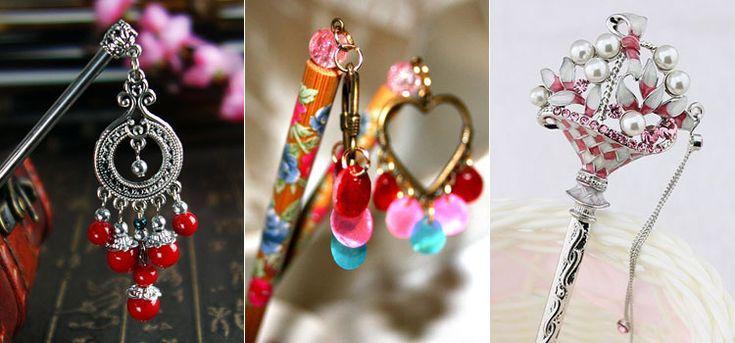 Красивые китайские палочки для волос с декором