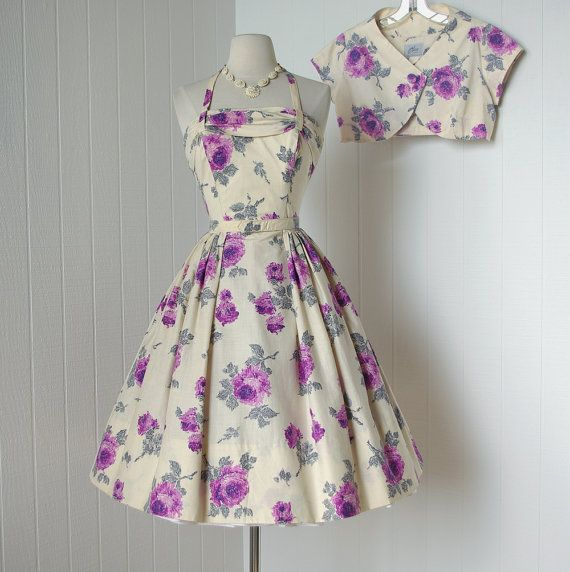 vintage 1950's dress ...gorgeous ALICE OF CALIFORNIA  lavender rose floral halter pin-up party dress and bolero jacket