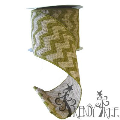 "Chevron+Burlap+Ribbon+Size:+4""+x+10+yards+Material:+Jute+Color:+Natural,+Moss+Green+Wire+Edge+Natural+burlap+ribbon+with+moss+green+chevron+stripes.+"