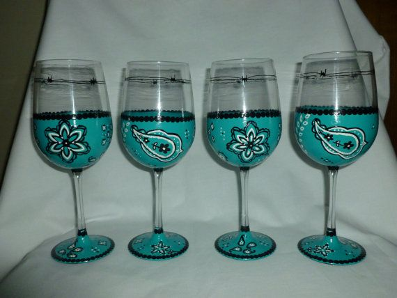 hand painted wine glasses turquoise gift painted wine glasses wine glasses western decor glassware painted glassware