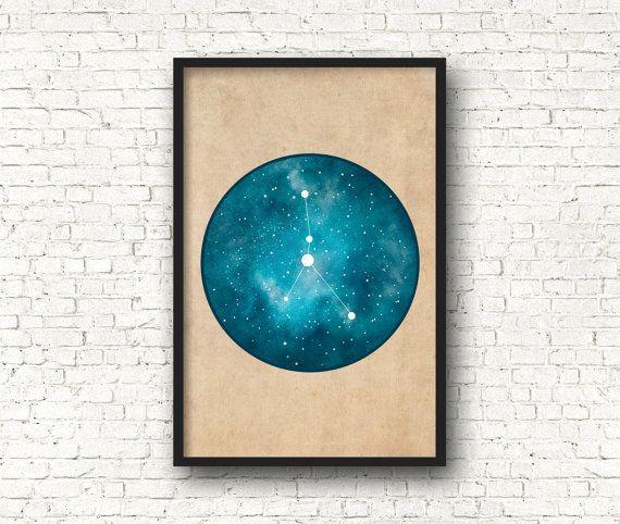 Wand-Kunstdrucke Sternbild Krebs Krebs Kunst von blackandthemoon