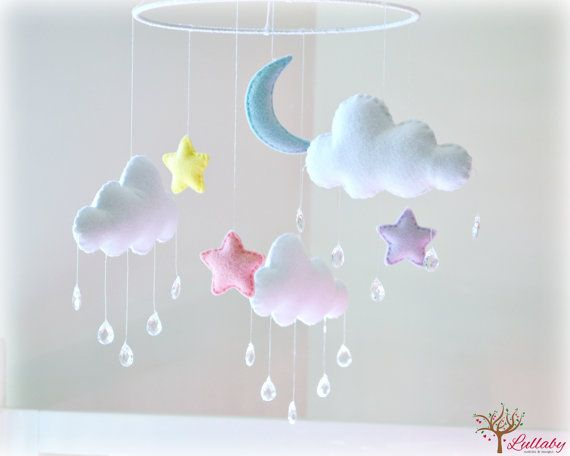 Night sky stars moon and clouds mobile cloud by LullabyMobiles                                                                                                                                                                                 More