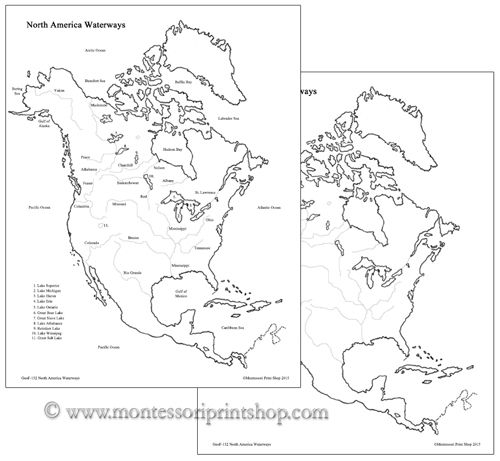 North America Waterways And Blackline Masters Study Of