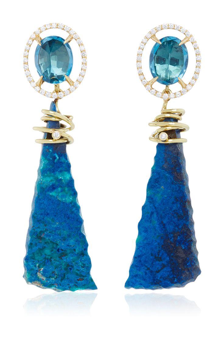 MO Exclusive: 18k Gold London Blue Topaz And Azurite Earrings - Jordan Alexander Spring Summer 2016 - Preorder now on Moda Operandi