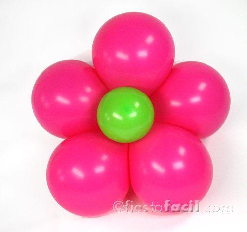 Cómo hacer una flor con globos - clic aquí para nuestro tutorial! De www.fiestafacil.com / How to make a balloon flower - click here for our tutorial! From www.fiestafacil.com