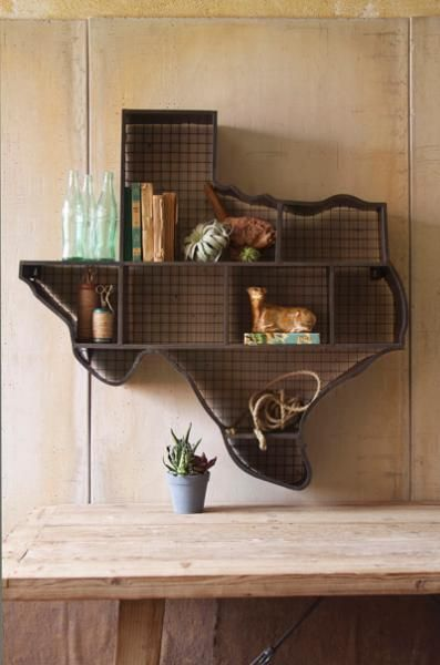 Gotta put a bear or BU in that center-right space, right? #SicEmDecor, Ideas, Texas Shelf, Farmhouse Furniture, Texas Home, Wall Shelves, Wall Shelf, Texas Cubbies, Texas Wall