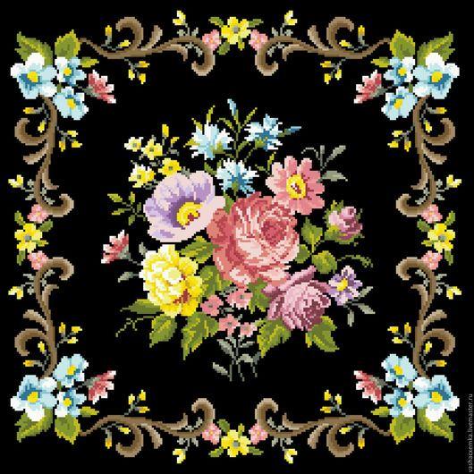 """Вышивка ручной работы. Ярмарка Мастеров - ручная работа. Купить Ретро схема """"Розы на чёрном"""". Handmade. Схема для вышивки"""