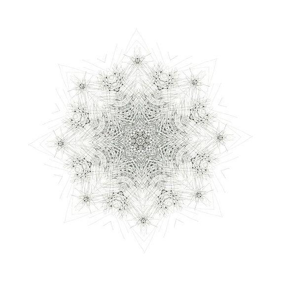 Nature Speaks art mandala creative meditation morning star art print giclee print creative visualization black and white
