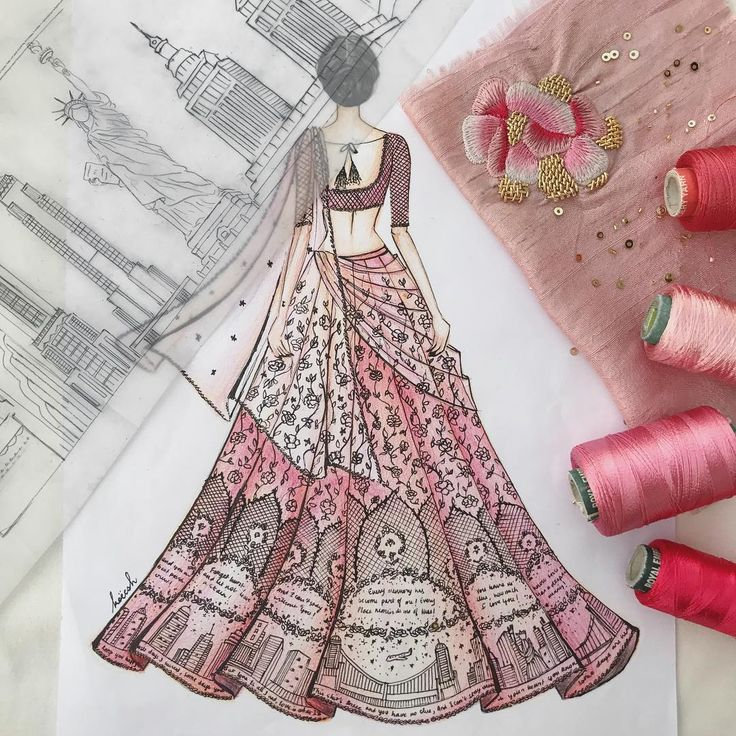 Poems from the groom to his wife embroidered onto each Kali, while roses intertwined with their names go up the lehenga into vines. The hem is finished off with a starry night skyline of their favorite city. @kreshabajaj