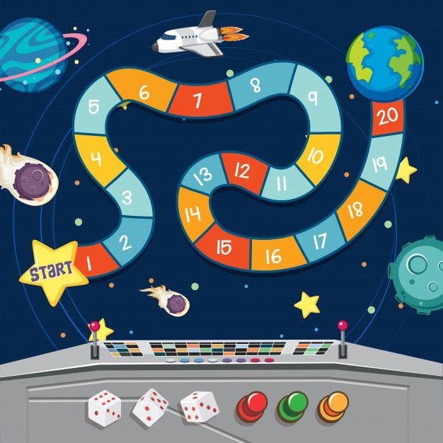 Jogo De Tabuleiro Com Terra E Planetas No Espaco Jogos De Tabuleiro Planetas Jogos