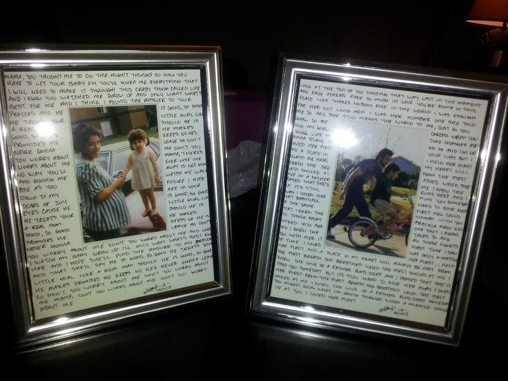 Wedding gifts for my parents; dedicated a song used in the wedding to each. Wrote the lyris on a matted frame w/ a childhood pic. Then put a few of songs from the ceremony on a cd for each of them. They <3'ed it!