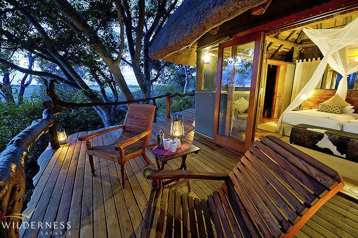 The accommodation at Kwetsani Camp comprises five beautifully furnished, airy 'tree-house' chalets made up of thatch, wood, glass and canvas. #Okavango #Botswana #Safari #Africa