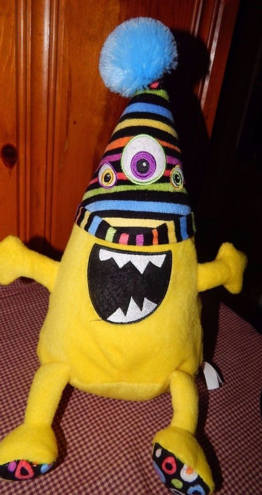 "National Entertainment Network Yellow Plush 3 Eye Monster Stuffed Animal Toy 15"" #NationalEntertainmentNetwork"