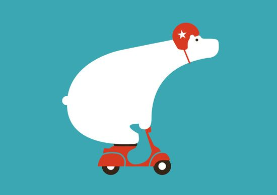 Polar bear on scooter Art Print by Budi Kwan | Society6