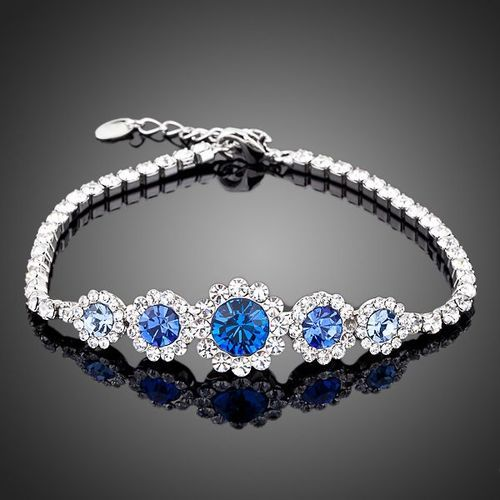White Gold Plated Round Blue Crystal Bracelet