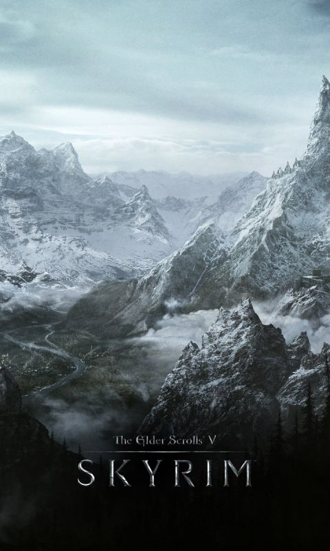 480x800 Wallpaper skyrim, world, rocks, winter, cold, the elder scrolls v skyrim