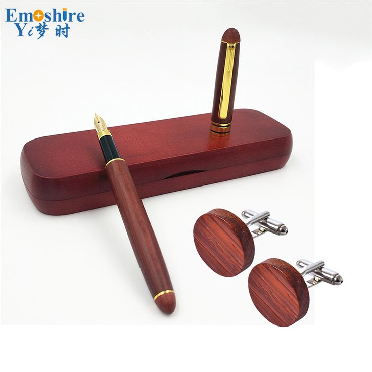 Vintage Stationery Pen Set Man Collection Wood Cuff Links for Wedding Metal Pen Retro Wooden Fountain Pen Gift Set Man PC005