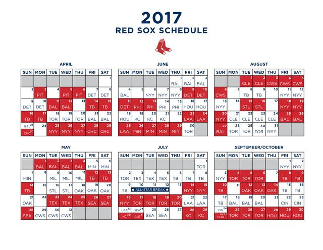 The full 2017 Red Sox schedule: