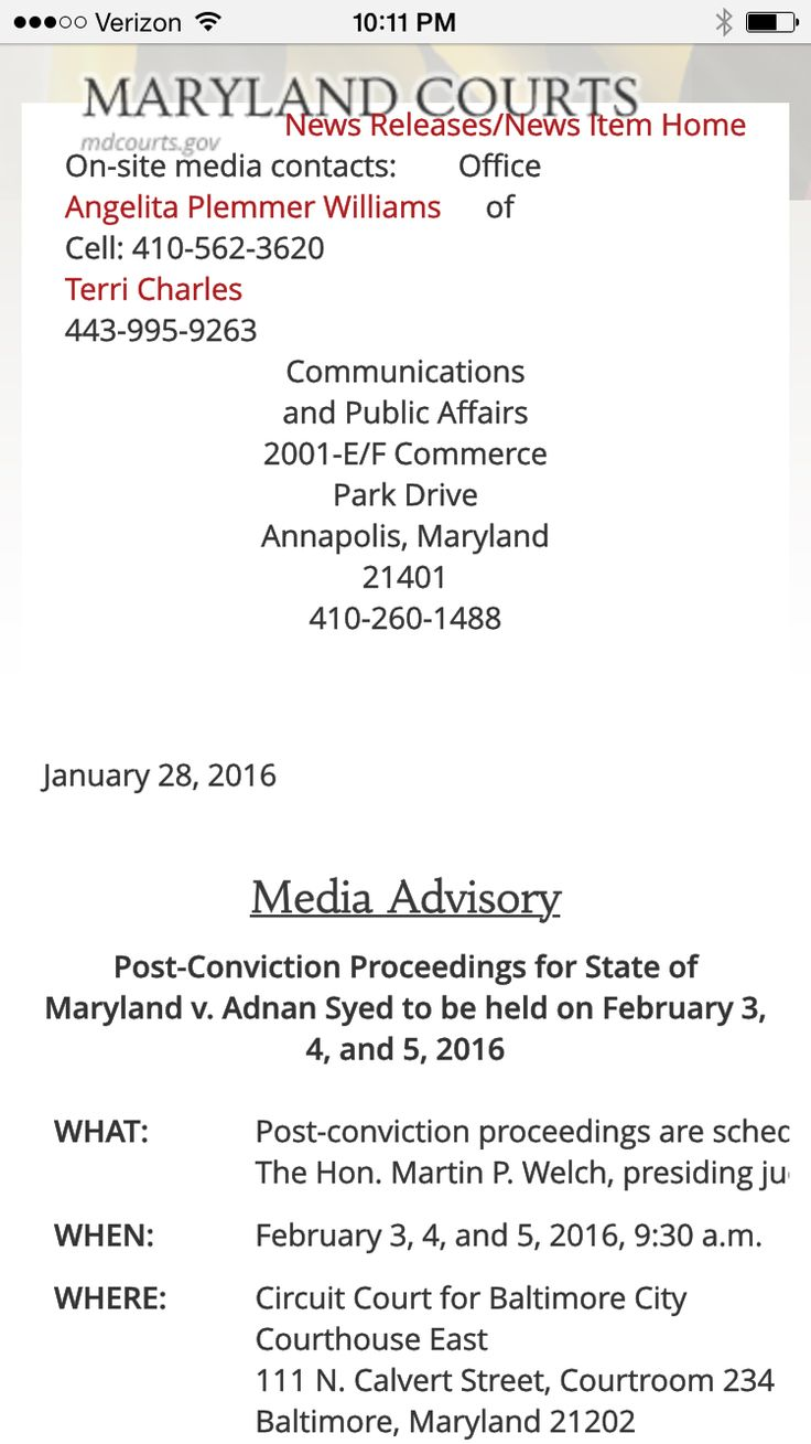 1488 meaning - Media Advisory Post Conviction Proceedings For State Of Maryland V Adnan Syed To Be