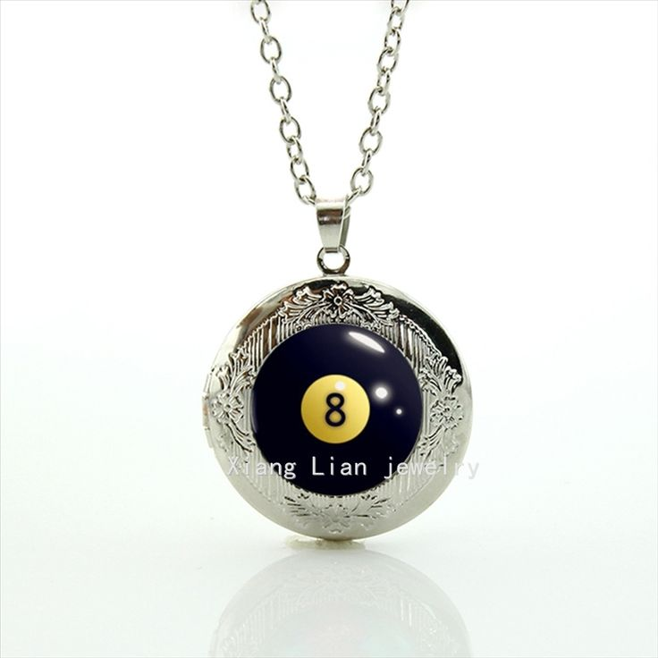 Collares Maxi Necklace Collier Perfect Gifts Interesting Fashion Billiard Eight Ball, Billiards Pool Mens Locket Necklace T564 #Affiliate