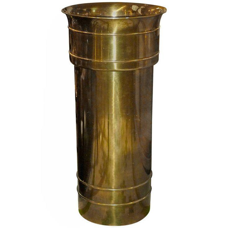 Mastercraft Planter / Jardiniere – Patinated Pedestal American Hollywood Regency Brass
