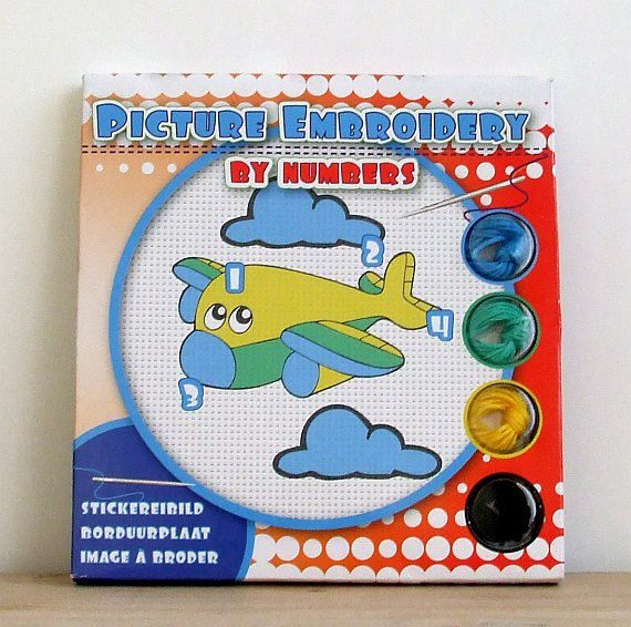 Embroidery Kit Easy Airplane Embroidery Kit by CraftSuppliesDesk