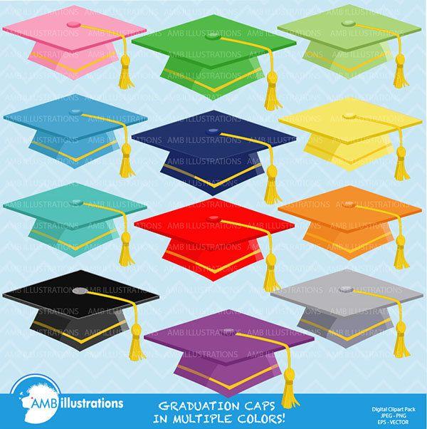 80% OFF Graduation caps Graduation caps clipart Digital vectors commercial use AMB-882