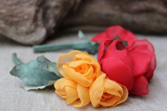 Rose CrownRed flower headbandRed Flower by IrisArtTextile on Etsy