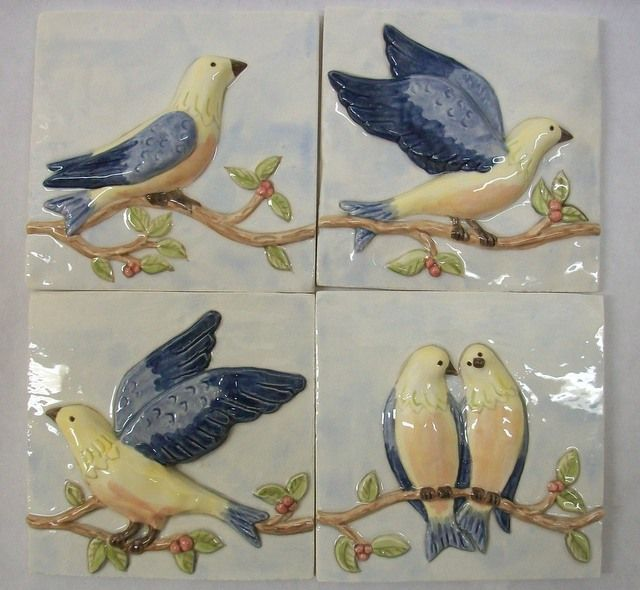 Start Your Day With A Smile Whether You Put These 4x4 Hand Painted Birds On A Vine Tile In You Bathroom On Your In 2020 Hand Painted Ceramics Tile Art Hand Painted